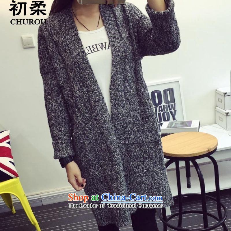 At the beginning of the autumn and winter 2015 Sophie Korean version of large numbers of ladies to increase long-sleeved jacket, sweater long twist cardigan thick MM200 catty to wearing a dark gray are code