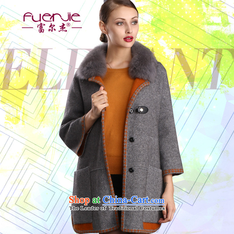 Kunitsa lint-free jackets, female fu 2015 autumn and winter new western stingrays lint-free cardigan female mink coats, lint-free female wave芒 jacket women 9376 Gray聽L