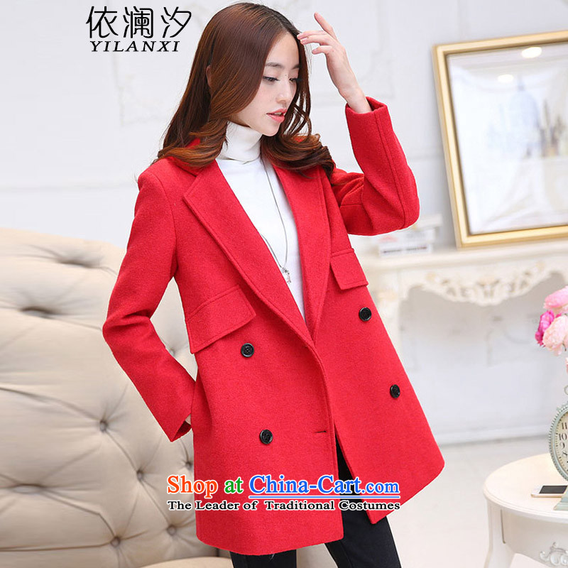 According to the world the new 2015 Hsichih in autumn and winter long hair?   Korean version of a wool coat female jackets 1131 RED燤