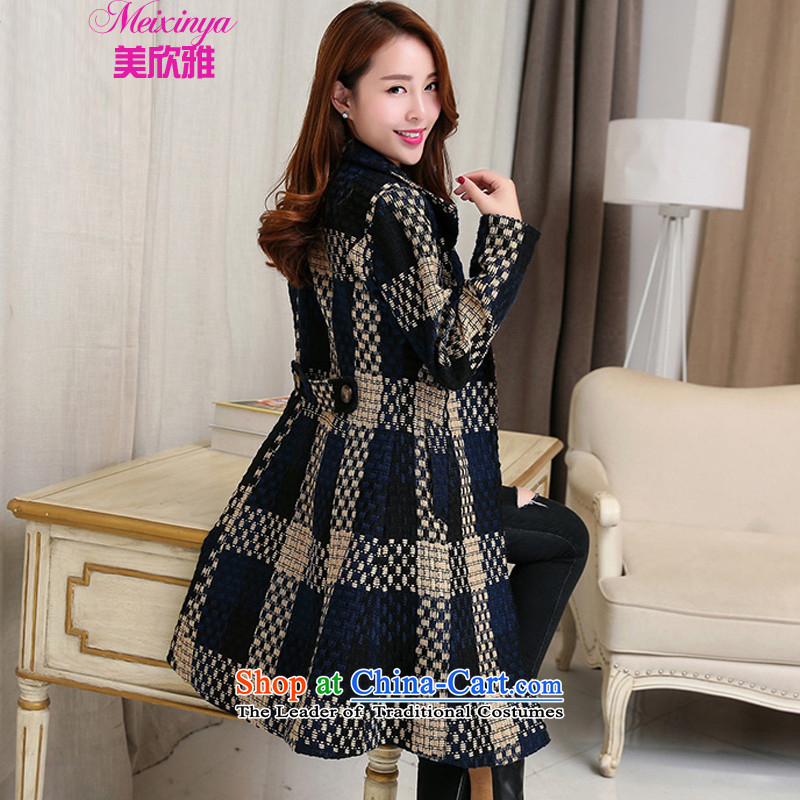 The United States welcomes the Nga gross? 2015 autumn and winter coats female replacing woolen coat female new gross? female Korean version of the jacket long cashmere overcoat female navy blue,燤