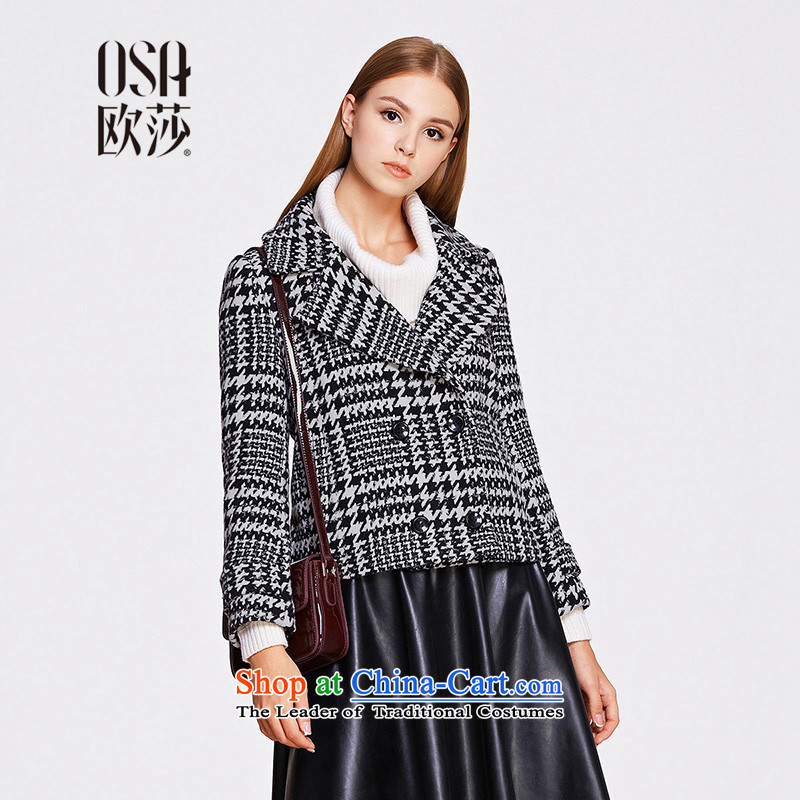 The OSA EURO 2015 Winter New Windsor female suits for chidori grid pocket SD507017 gross? jacket black燤