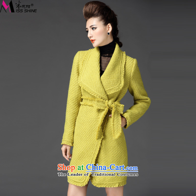 Meath Yang original western diamond winter 2015 winter new products in the video thin beauty long-sleeved long hair? female yellow jacket XL