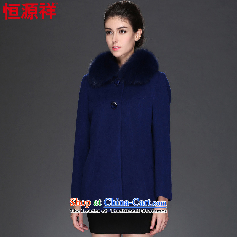 Hengyuan Cheung 2015 autumn and winter coats, wool a short of the amount? jacket for the middle-aged   Fox Gross Gross?燦o. 1 female coats 165_L. blue.
