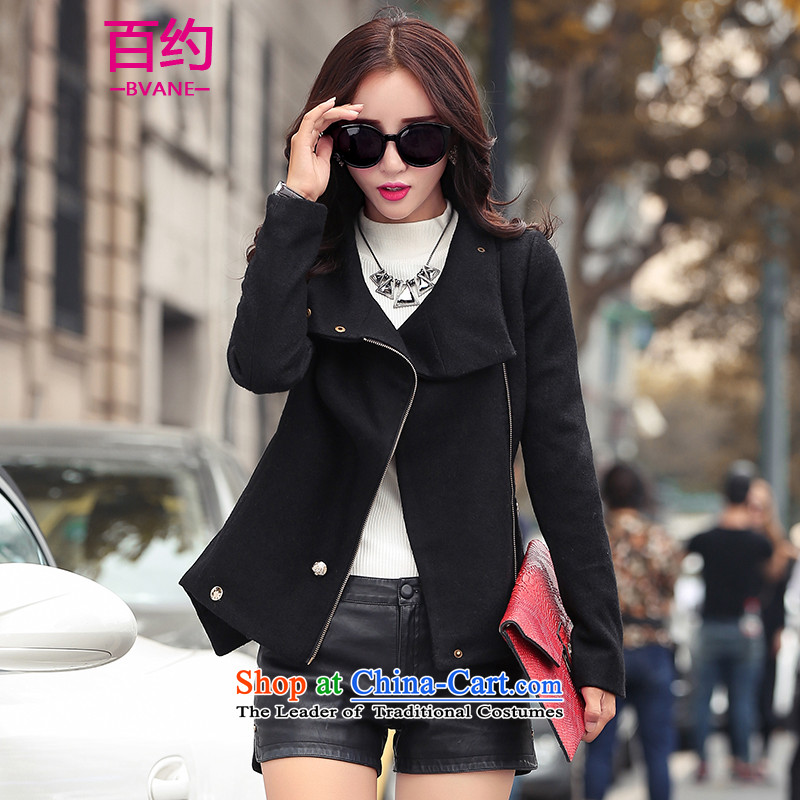 About the New 2015, hundreds of autumn and winter load sense of gross coats female Korean version of this stylish collar zip jacket, black short M