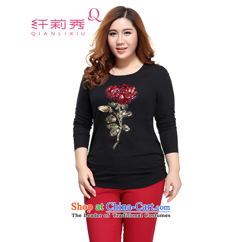 The former Yugoslavia Li Sau 2015 autumn large new mount female stylish pearl embroidered tile round-neck collar long-sleeved T-shirt female black�L 1086