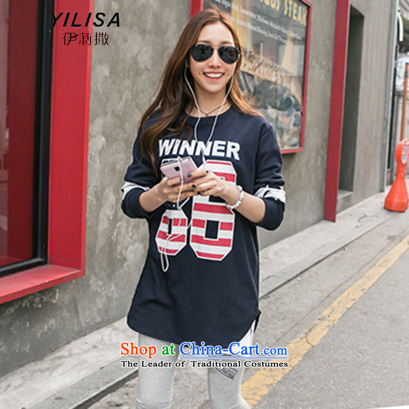 Elizabeth to sub-XL T-shirts, forming a trouser press kit Korean loose video thin 200 MM thick and long catty campaign sweater two kits K358 navy + Light gray trousers聽XL