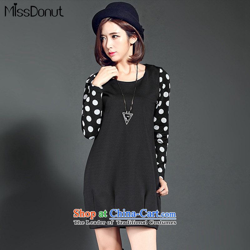 To increase the number missdonut dresses mm thick Korean women who thick, thin graphics new thick sister winter Plus points forming the wave-thick wool skirt black large XL
