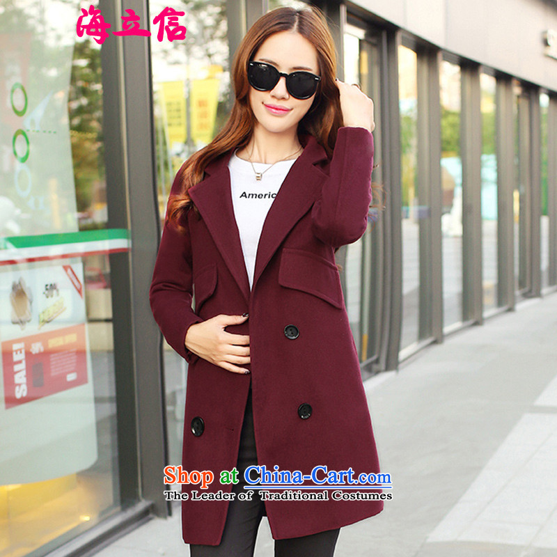 Letter alite聽2015 autumn and winter new Korean Sau San video thin double-long coats gross? female chestnut horses聽L