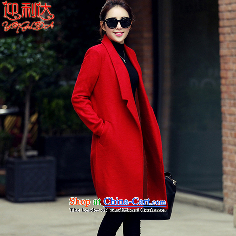 The 2015 autumn welcome new Korean Thick Long temperament a wool coat women's gross? jacket red XL