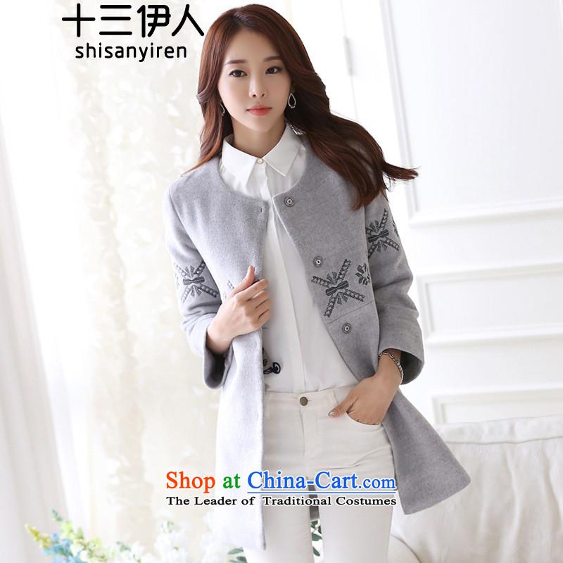 13 Mai�15 Winter Korean female jacket coat gross? Fine wool LOW COLLAR 8 cuff windbreaker silver gray燣