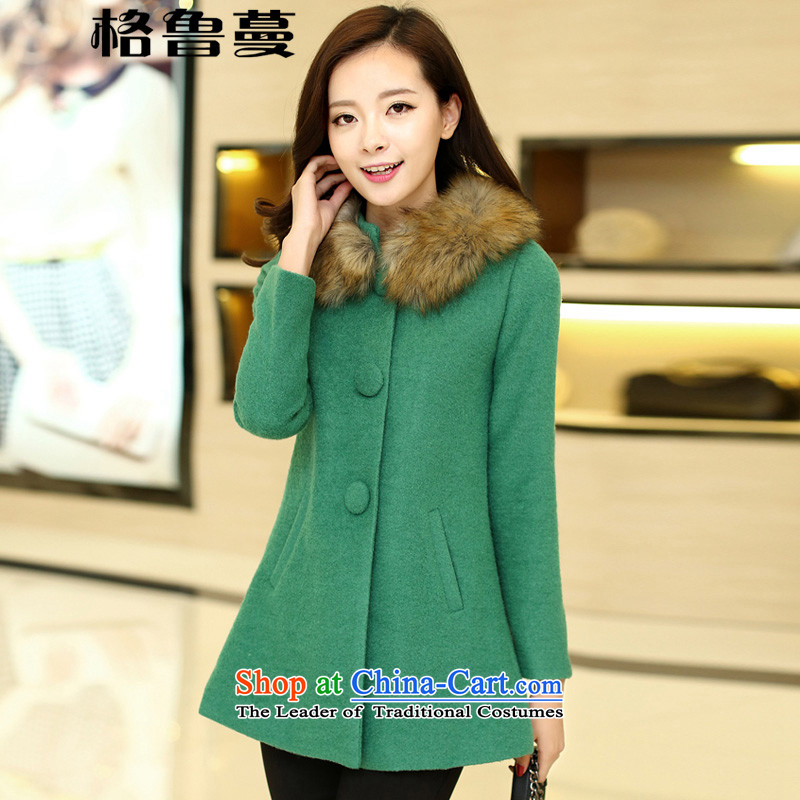 In聽2015 winter new vines Korean Sau San cloak? In gross jacket long a wool coat聽DY11聽green聽L