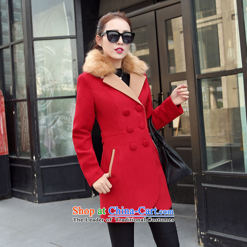 The autumn and winter new Korean girl in gross? jacket long Sau San video thin double-small-wind a wool coat 9523 Red聽XXL