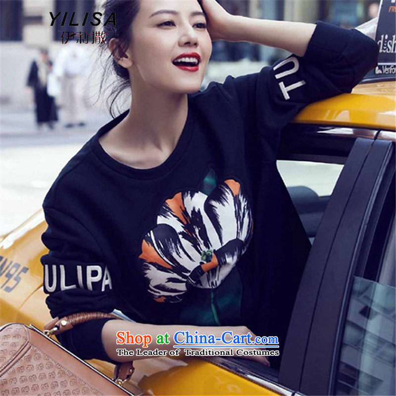 Elizabeth sub-to increase women's code NEW SHIRT autumn sweater 200 MM thick Korean catty Fall_Winter Collections embroidery stylish suite and Pure cotton T-shirt sweater 365 Black聽XXL