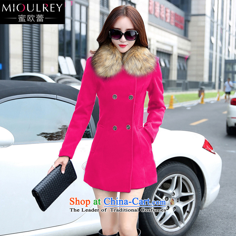 Alfa Romeo Lei 2015 autumn and winter new women's gross? Long butted Korean fashion on the Nagymaros for Sau San a wool coat 8102 IN RED?L female