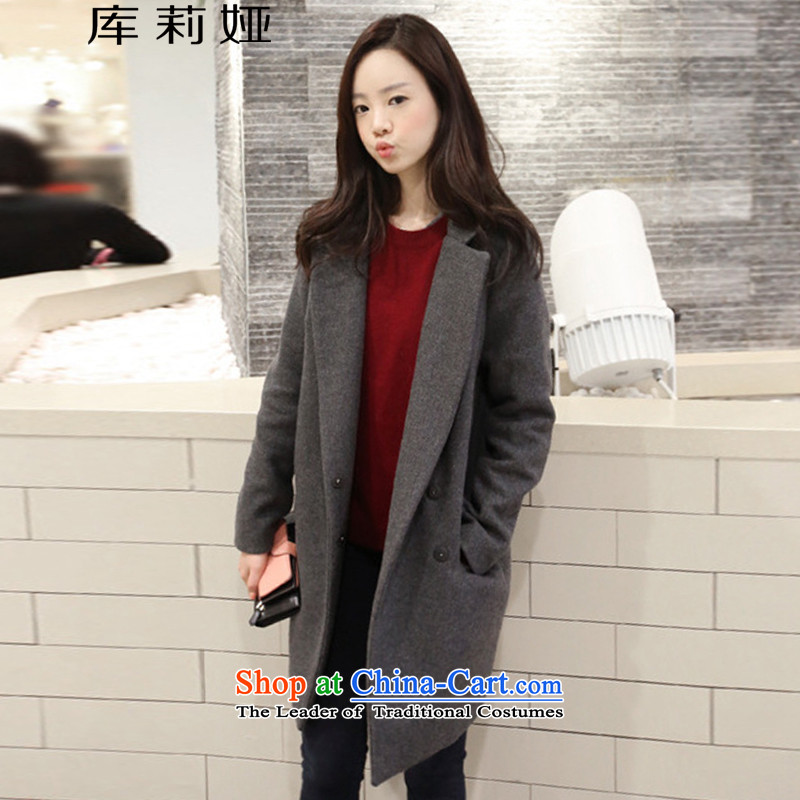 Library Leah 2015 autumn and winter Ms. new Korean thick double-side gross butted? long coats female K184 gross? Gray L