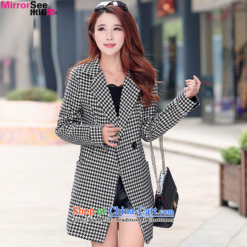 M New Winter North Korean chidori grid gross?_ in female jacket long OL commuter double-a wool coat picture color燬