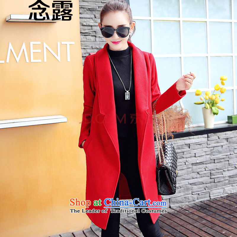 Mindful that the terrace 2015 autumn and winter female new Korean style suit for relaxd thick Sau San Ms. leisure folder in a wool coat cotton Long Female hair? jacket red plus cotton?M