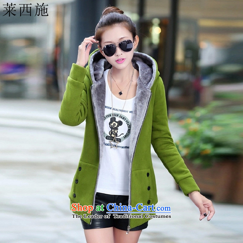 Hundreds of shops benefit war Gloria Xi Shi�15 Autumn on large women fall_winter collections to intensify the Korean wild thick forming the Netherlands female 1015 mm Green� L