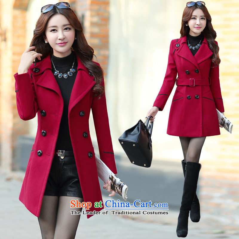 Once again we get coats female Europe Gross 2015 winter clothing decorated in the body of the girl long jacket, wine red?XXXL