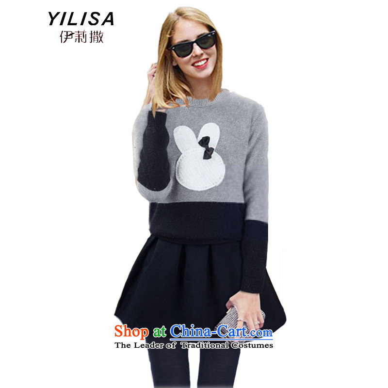 Elizabeth sub-XL to Europe and the Women 2015 Fall/Winter Collections new sweater kit and ears MM thick wool jumper + bon bon skirt kit N669 sweater with black skirt 4XL