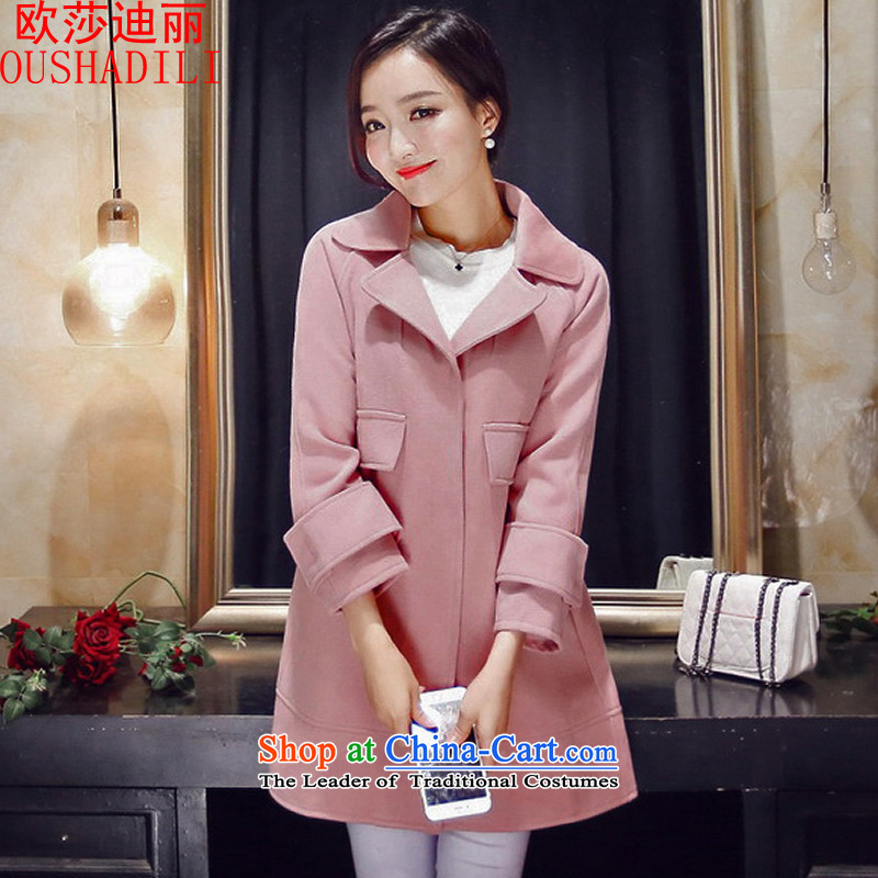 The OSCE's Lai�15 Elizabeth autumn and winter new two-sided cashmere overcoat wool coat in the female? long coats_? pink燩UERTORRICANS loose version of the concept of a small code_