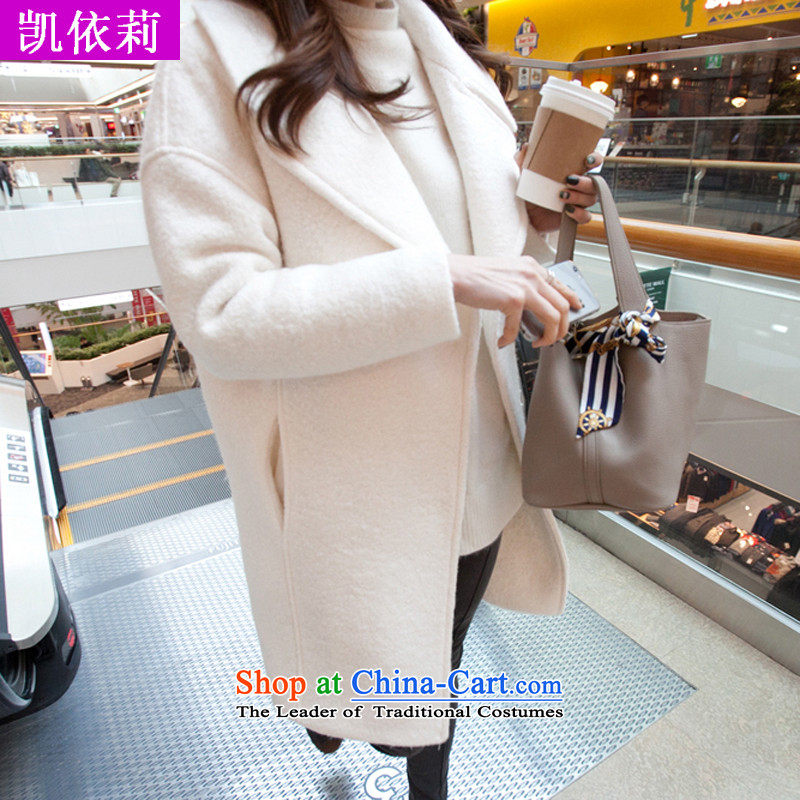 The wounds of Korea Kai autumn and winter new Korean version of large roll collar jacket in gross? long white video thin cashmere a wool coat White M
