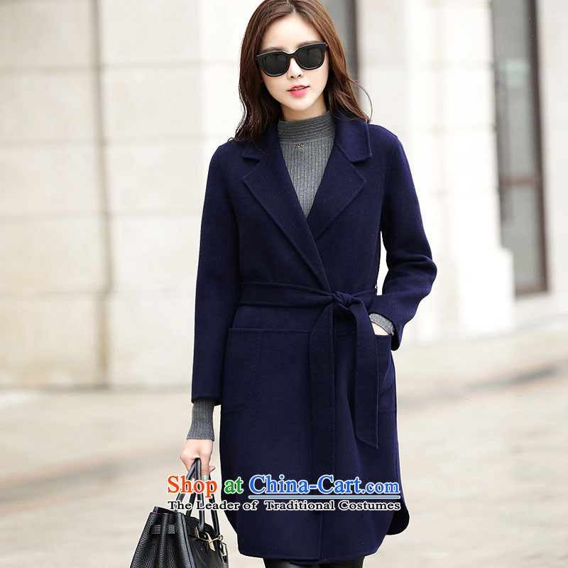A new ethnic Houston autumn and winter light luxury elegant luxury video thin tether classic reverse collar in long cashmere wind jacket wool coat B)? Cyan L