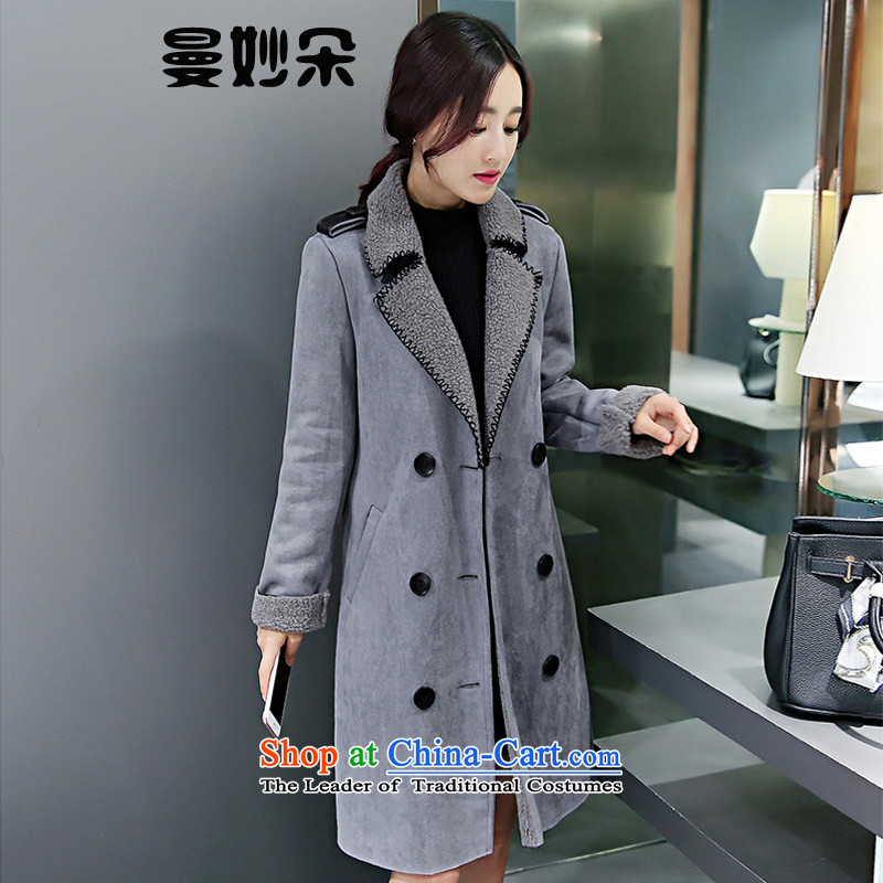 A strange flower�15 autumn and winter new women's body graphics thin long-sleeved decorated in long single row detained thick wool coat gross?? coats female Korean Gray燣
