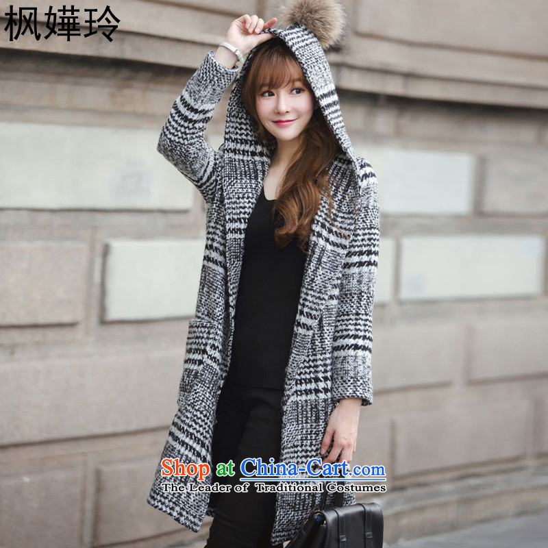 Miriam Yeung Ling Feng 2015 Fall_Winter Collections new Korean Sau San over the medium to longer term Gross Gross for coats jacket women? 3371black and whiteL