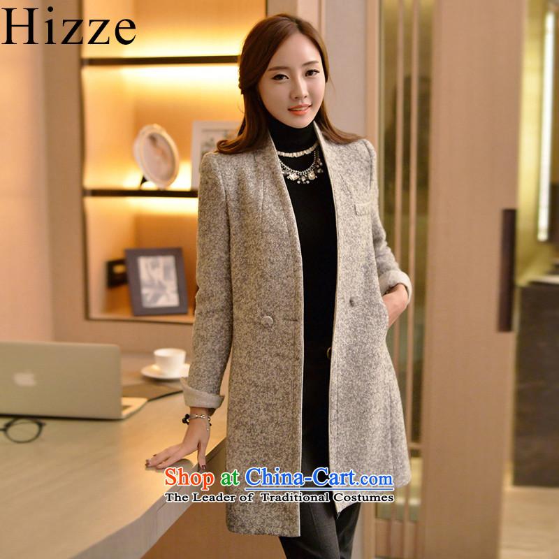 燝ross? female jacket hizze Korean version of 2015 autumn and winter New Sau San simplicity, a wool coat 7753 Sau San video thin coat gray燤