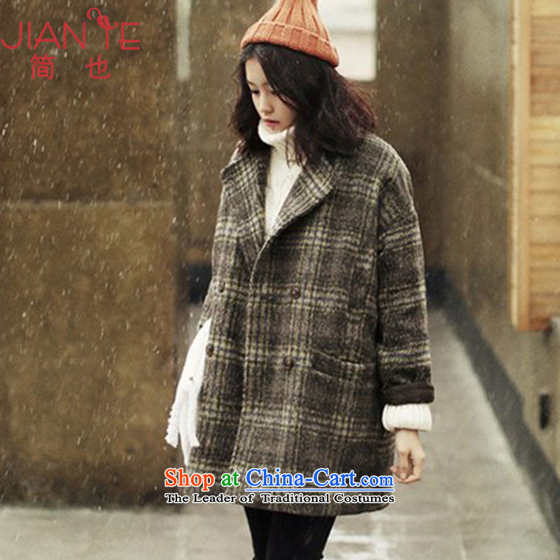 Jane can also fall and winter 2015 new Korean double-jacket in gross? Long a wool coat female W32 Yellow Tartan XL