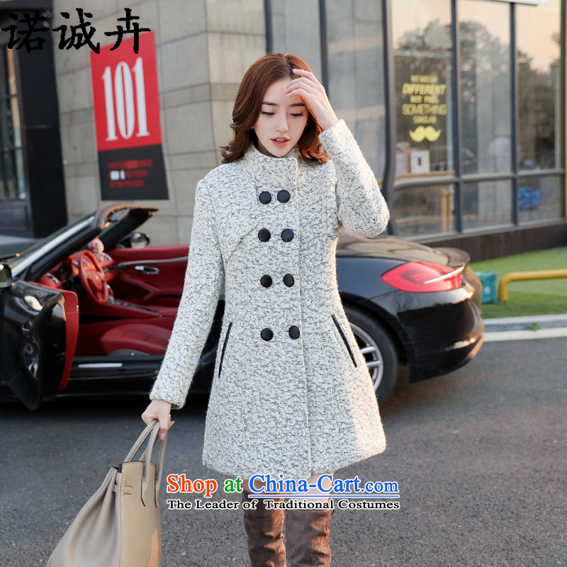 The Shing Hui 2015 autumn and winter new larger female Korean fashion in the Sau San long wool coat leisure?? jacket female white hair 1513 L