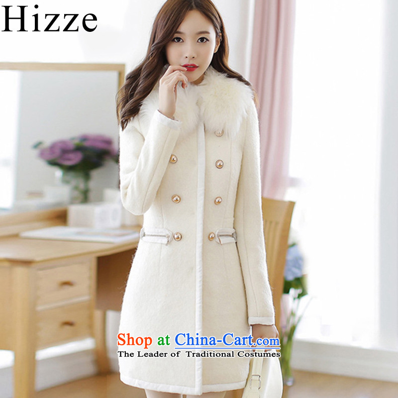 ?Gross? female jacket hizze 2015 winter clothing New Sau San long-sleeved a wool coat for gross windbreaker double row is long, Korean Women 6211 m White?M