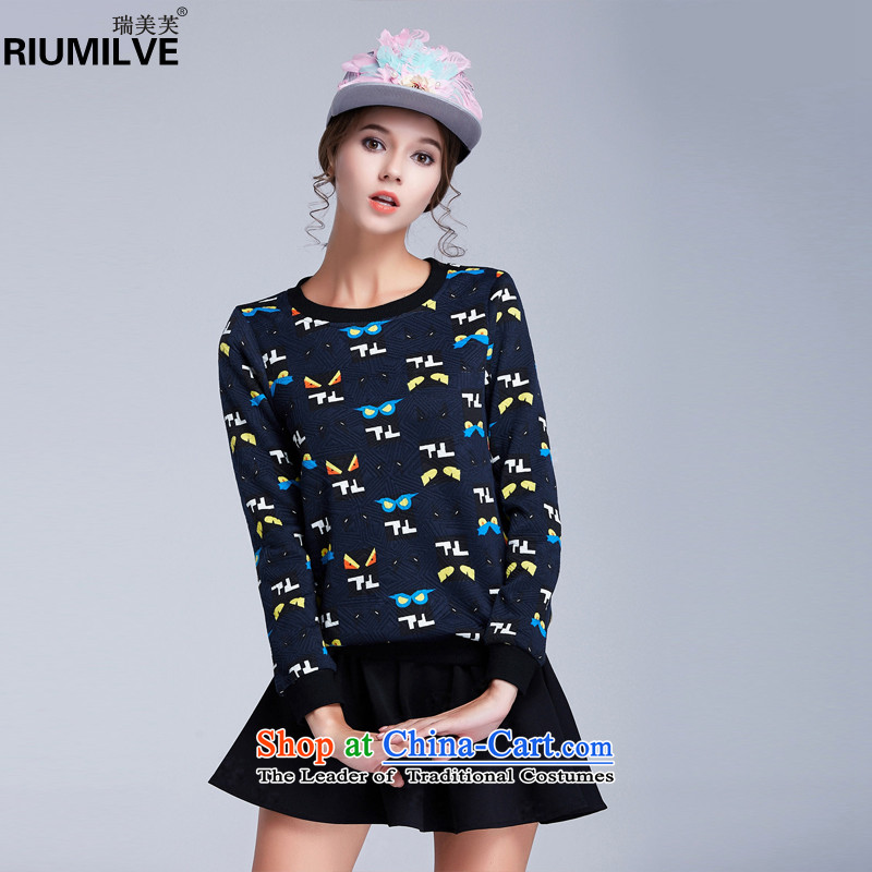 Rui Mei to 2015 to increase the number of women in autumn and winter new stylish mm thick stamp sweater long-sleeved T-shirt, forming the Netherlands shirt N1619 female XXXL Dark Blue