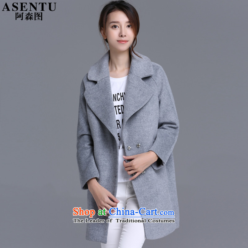 Asen figure� 2015 Fall_Winter Collections new Korean women's temperament plain color large roll collar cocoon-thick hair a wool coat jacket girl with pocket gray燤