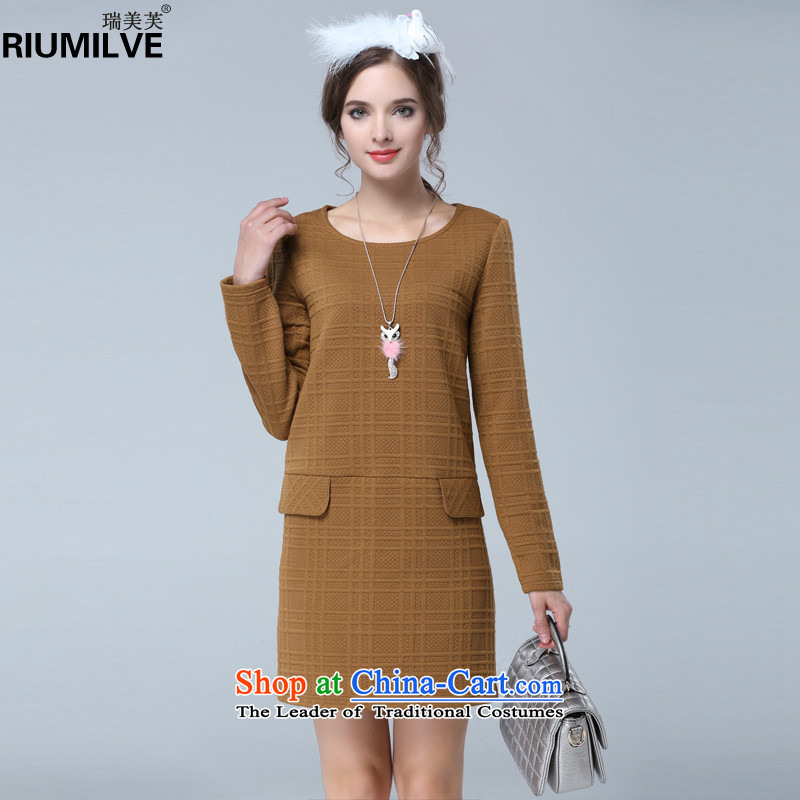 Rui Mei to to increase women's code for the new Europe and the 2015 autumn_ thick mm Sau San video round-neck collar long-sleeved forming the thin dresses N1630�L Yellow Earth