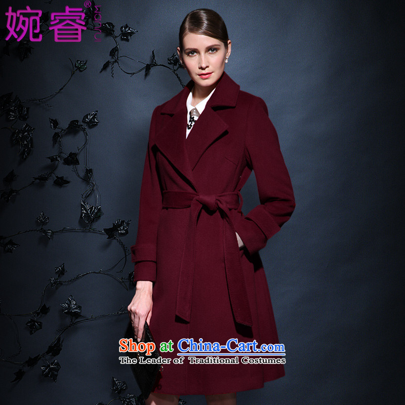 Yuen-core women 2015 winter clothing new stylish temperament, long long-sleeved   Gross?? coats red jacket female M