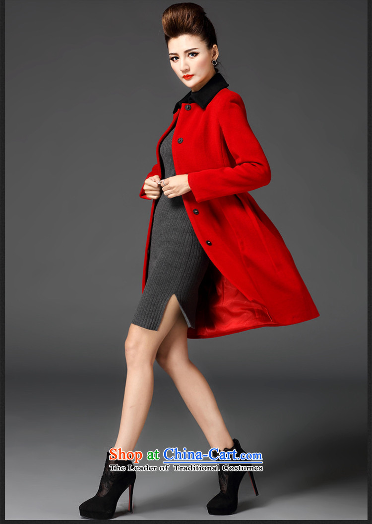 Meath Yang original in accordance with the long hair? jacket 2015 winter new products long-sleeved stitching lapel coats female red XL Photo, prices, brand platters! The elections are supplied in the national character of distribution, so action, buy now enjoy more preferential! As soon as possible.