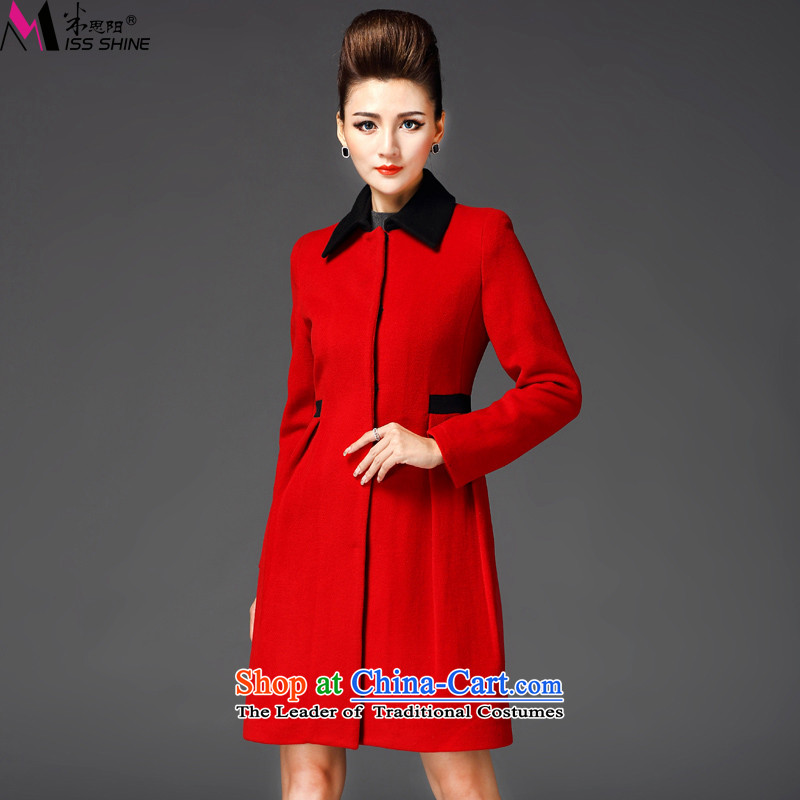 Meath Yang original in accordance with the long hair? jacket 2015 winter new products long-sleeved stitching lapel coats female red XL