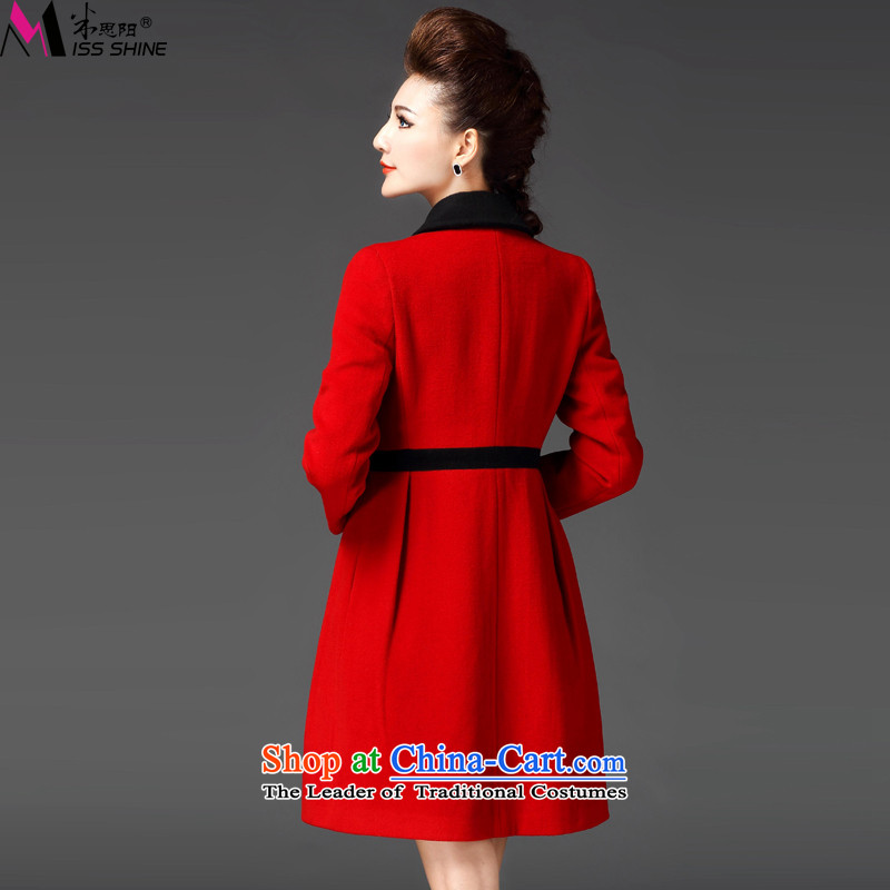 Meath Yang original in accordance with the long hair? jacket 2015 winter new products long-sleeved stitching lapel coats female red XL, m Cisco Yang (missshine) , , , shopping on the Internet