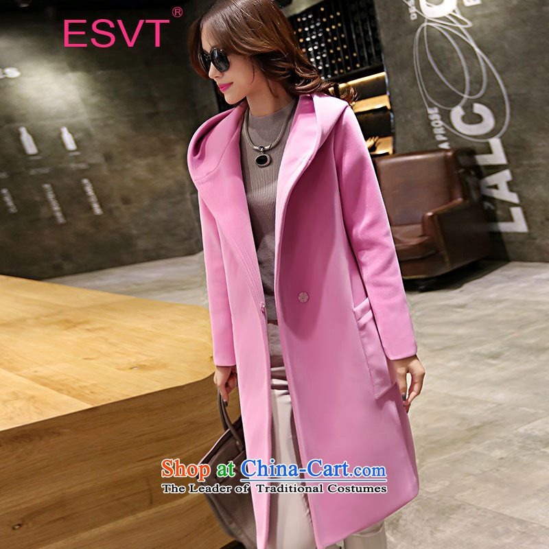 The Korean version of the 2015 Autumn ESVT new stylish and simple graphics thin cap Sau San lapel of long-sleeved in long coats of gross? female pink L