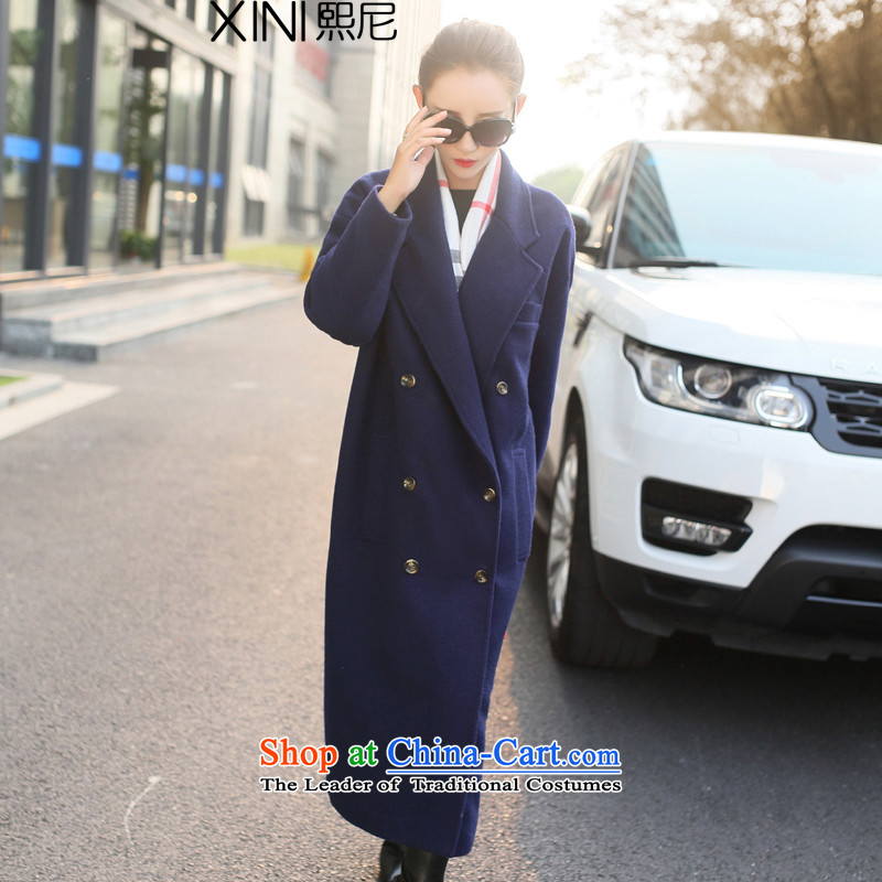 The 2105 autumn and winter-hee load new Korean Sleek and versatile ultra-long double-suit for the atmosphere of the forklift truck so Gross Gross coats? jacket female navy L
