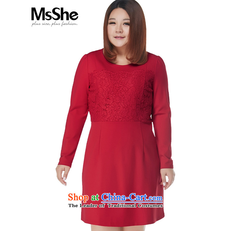 Msshe xl women 2015 new winter clothing round-neck collar lace spell a series of dresses Foutune of 10696 Red2XL