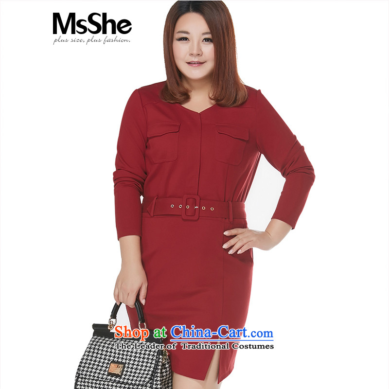 Msshe xl women 2015 new winter activities of pure color waistband V-Neck dresses Foutune of 10772 Bourdeaux 4XL