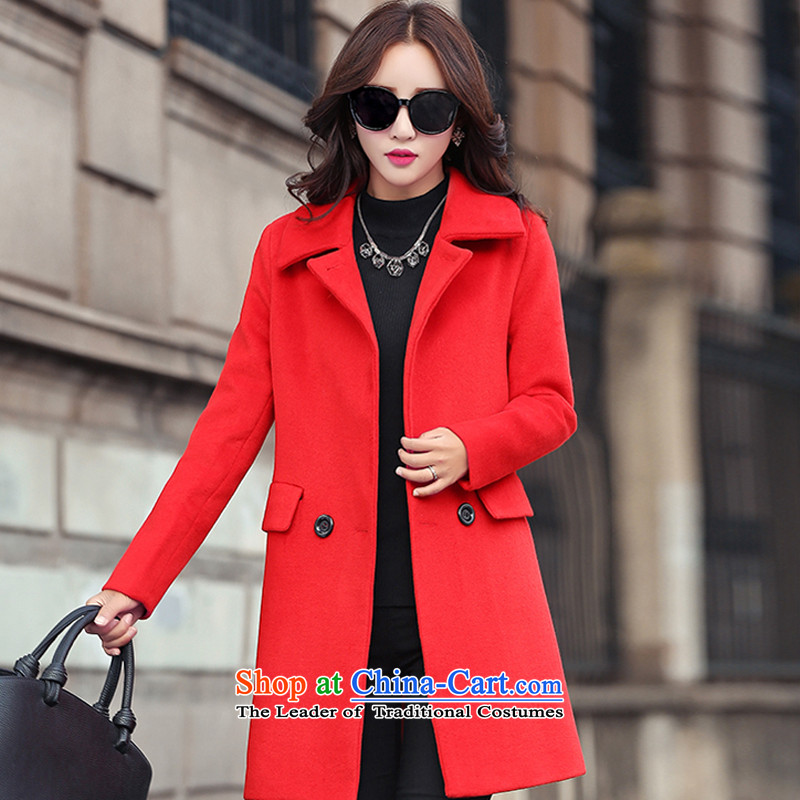 The Korean version of the stylish lapel large red cloak?燣