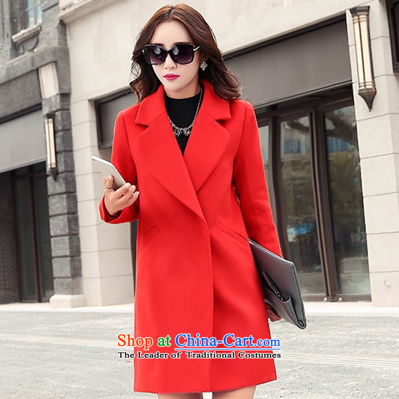 The Korean version of the stylish lapel large red cloak?燲L