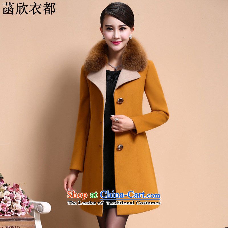 On the basis of Yan Yi are 2015 autumn and winter New Women Korean stylish large thin graphics Sau San Mao coats female F2373? yellow燣