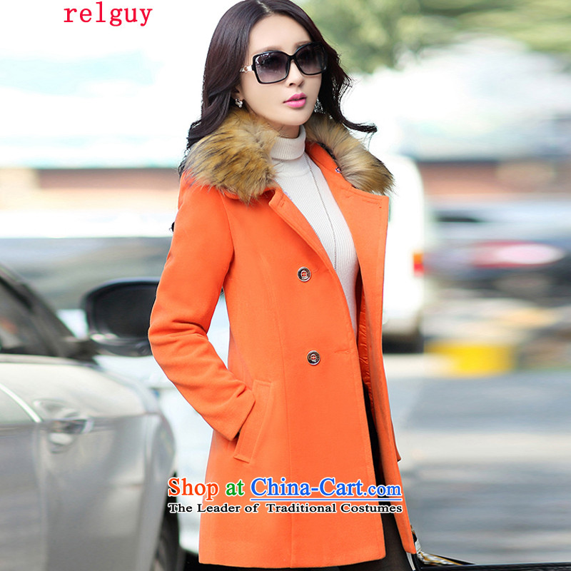 2015 Autumn and winter new relguy female new Korean version in the Sau San stylish cashmere temperament long jacket for larger gross coats female orange聽3XL?