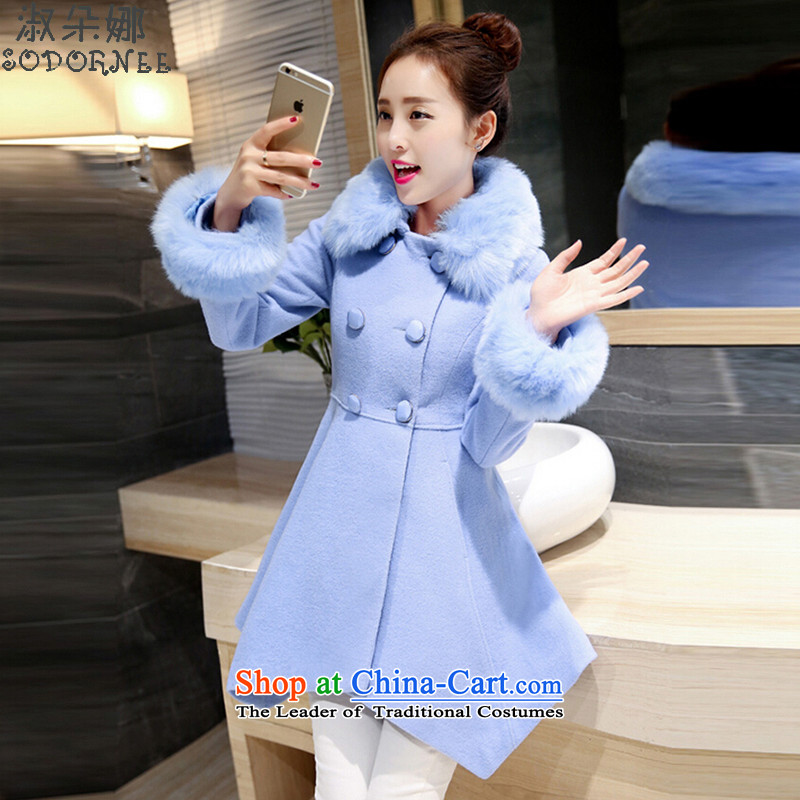 Mrs flower of gross? 2015 autumn and winter coats female Korean version of the new long hair? coats?  8289?Water Blue?M