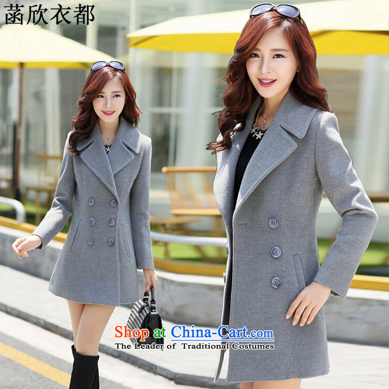 On the basis of Yan Yi are 2015 autumn and winter new women in Korean long Sau San video thin double-jacket female F2375 gross? gray S